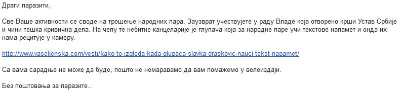 vt Slavka Drašković nudi saradnju Vaseljenskoj Televiziji