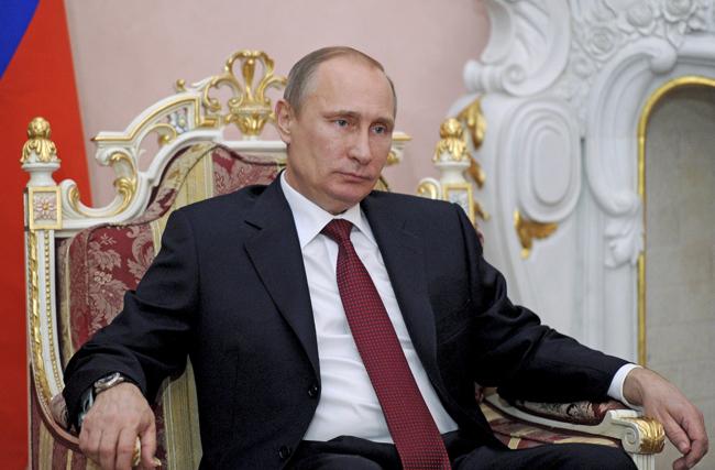 Russian President Putin during his meeting with Armenian President Sarksyan in Yerevan