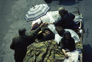 Izbeglice iz Kninske krajine posle akcije hrvatske vojske Oluja snimljene u Banja Luci. 5-8.08.1995.