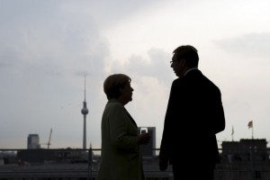 German Chancellor Angela Merkel (L) and Serbian Prime Minister Aleksandar Vucic speak at the start of their talks at the Chancellery in Berlin June 11, 2014. REUTERS/Bundesregierung/Guido Bergmann/Handout via Reuters  (GERMANY - Tags: POLITICS) ATTENTION EDITORS - THIS PICTURE WAS PROVIDED BY A THIRD PARTY. REUTERS IS UNABLE TO INDEPENDENTLY VERIFY THE AUTHENTICITY, CONTENT, LOCATION OR DATE OF THIS IMAGE. FOR EDITORIAL USE ONLY. NOT FOR SALE FOR MARKETING OR ADVERTISING CAMPAIGNS. NO SALES. NO ARCHIVES. THIS PICTURE IS DISTRIBUTED EXACTLY AS RECEIVED BY REUTERS, AS A SERVICE TO CLIENTS