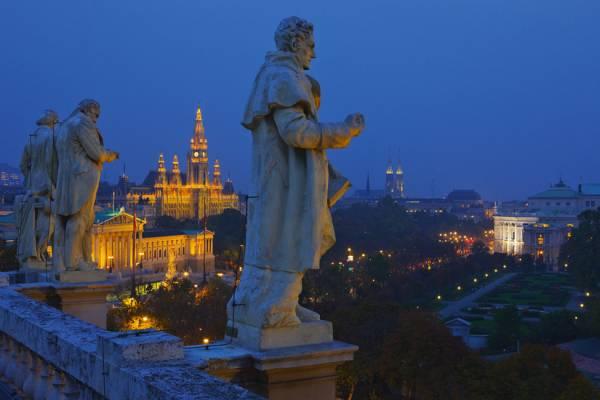 Europa, …sterreich, Wien, Rathauspark, Rathaus, Parlament, Burgtheater, Ringstra§e, Blick von Naturhistorischem Museum Wien