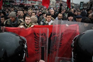 Jan. 27, 2015 - Prishtina, Kosovo - Riot police clash with thousands of violent anti-government protesters who demand the dismissal of Serb Communities Minister Jablanovic to quit, after he called some ethnic Albanians 'savage' for trying to block a Serb pilgrimage., Image: 216491682, License: Rights-managed, Restrictions: * France Rights OUT *, Model Release: no, Credit line: Profimedia, Zuma Press - News