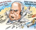 Мекејн-као-ратни-хушкач-карикатура