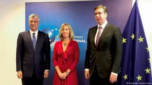 Vučić, Mogerini i Tači
